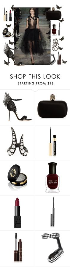 """A walk on the dark side in Valentino"" by anujabalaji ❤ liked on Polyvore featuring Sophia Webster, Alexander McQueen, Monan, Yves Saint Laurent, Gucci, Deborah Lippmann, NARS Cosmetics, Burberry, Charlotte Tilbury and Repossi"