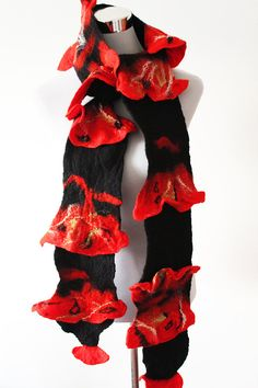 Felted wool scarf -Felted scarf - Black scarf - Red wool scarf - Ladies scarf- Wool scarf
