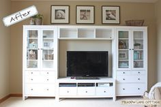 Maybe something like this but DARK....and we'd have windows on each side..just for an idea! (hemnes entertainment center ikea)