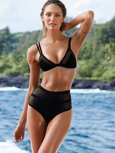 Victoria's Secret Mesh Insert Triangle Top $42.50 Banded mesh high waist bottom $38.50
