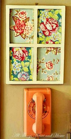 Photo frame with fabric! put cork board behind the fabric, and it could be great for holding messages!
