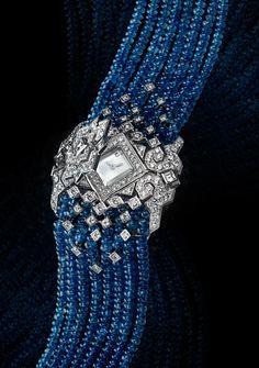 Cartier Secret Watch / White Gold, Sapphire beads and Diamonds