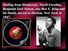 """King As A Member Of The """"Drifters"""" Singing Group Benjamin Earl Nelson, aka, Ben E. King started singing while in junior high school with a doo wop gro. Z Music, Blues Music, Music Love, Love Songs, Ben E King, Funny Songs, Live Laugh Love, Motown, My Favorite Music"""
