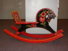 Antique Russian painted rocking horse