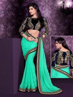 Rama Satin Chiffon Charming Partywear Saree