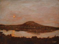 Moon Rising: Irish Art, Original Framed Landscape Painting by Stephen Shaw Irish Art, Landscape Paintings, I Shop, Moon, The Originals, Frame, The Moon, Picture Frame, Frames