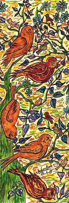 Assemblea d'ocells a l'arbre   21-4-15   cafè retoladors  punt s Dolors Buch Castañer