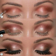 Make-up-Augen-Tuto-Lidschatten-Farbe-Sand-Gold Augen Make-up Maquillage - maquillage naturelle - maq Makeup Up, Makeup For Brown Eyes, Love Makeup, Skin Makeup, Makeup Contouring, Makeup Ideas, Makeup Geek, Pretty Makeup, Makeup Brushes