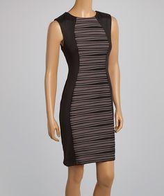 Love this Black & Taupe Stripe Curve Sleeveless Dress - Women on #zulily! #zulilyfinds