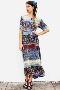 Tavin Blue Printed Indian Dress  http://www.tavinboutique.com