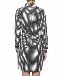 T856D Isaac Mizrahi Column Print Charmeuse Shirtdress, Black/White