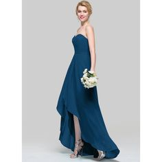 A-Line Princess Sweetheart Asymmetrical Chiffon Bridesmaid Dress With Ruffle - Ink Blue