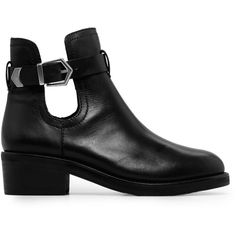 Cut-Out Leather Ankle Boots found on Polyvore
