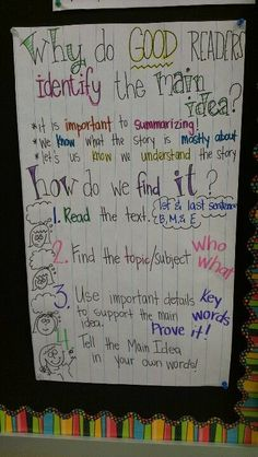 "Main idea anchor chart - links ""main idea"" with ""summarize."" •	CCSS.ELA-Literacy.RI.2.6 Identify the main purpose of a text, including what the author wants to answer, explain, or describe."