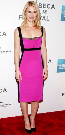 In Style - For the Tribeca Film Festival premiere of Hysteria, Claire Danes added black heels to a two-tone Narciso Rodriguez design.     WHY WE LOVE IT...  The neon hue wasn't all that was hot about this dress! The actress was a total knockout in the curve-hugging silhouette.