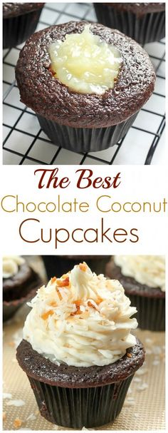 Junk Food The Best Chocolate Coconut Cupcakes - moist chocolate cupcakes filled with coconut cream and topped with coconut buttercream! - Easy to make! These Chocolate Coconut Cupcakes are the best! Brownie Desserts, Just Desserts, Delicious Desserts, Kokos Cupcakes, Yummy Cupcakes, Cheesecake Cupcakes, Best Cupcakes, Filled Cupcakes, Coffee Cupcakes
