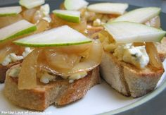 """<p><strong><a href=""""http://www.fortheloveofcooking.net/2008/10/crostini-with-gorgonzola-or-brie.html"""">SEE RECIPE HERE:Crostini with Gorgonzola or Brie, Caramelized Onions and Pear</a></strong></p>"""