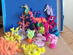 Pipe Cleaner Coral Reef by Starshas Coral Reef Biome, Coral Reef Craft, Coral Reefs, Science Projects, School Projects, Diy Projects, Crafts To Do, Crafts For Kids, Arts And Crafts