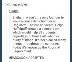 GASP #HEADCANNON ACCEPTED #Helga Hufflepuff why does this suprise people??