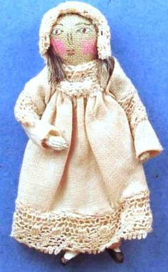 """Cloth doll primitive $85, Hand sewn face, 2"""" tall,  #css107"""