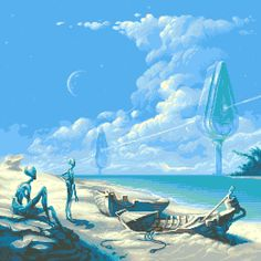 Its not our Earth anymore. by andylittle ( - artist of I, Dracula:Genesis. Hard Science Fiction, Arte Sci Fi, 70s Sci Fi Art, 8 Bits, Light In, Alien Art, Futuristic Art, Illustrations, Sci Fi Fantasy