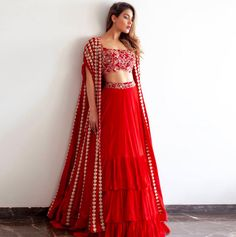 Buy Ivory embroidered lehenga set by Monika Nidhii at Aza Fashions Indian Gowns Dresses, Indian Fashion Dresses, Dress Indian Style, Indian Designer Outfits, Indian Wedding Outfits, Bridal Outfits, Indian Outfits, Engagement Outfits, Mehendi Outfits