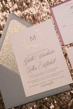GISELLE Suite Glitter Package, grey, rose gold, burgundy, rose gold glitter wedding invitations, invitations with laurels