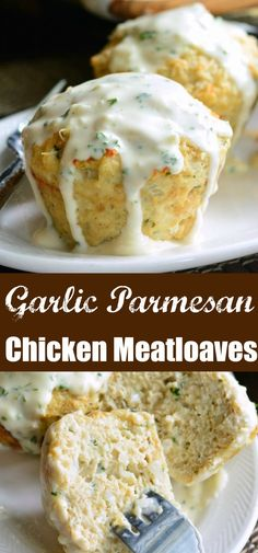 Garlic Parmesan Chicken Mini Meatloaves Juicy flavorful chicken meatloaves topped with an addicting creamy Parmesan sauce These individual meatloaves are perfect for dinn. Meatloaf Recipes, Meatloaf Sauce, Meat Recipes, Chicken Recipes, Cooking Recipes, Garlic Meatloaf Recipe, Chicken Snacks, Recipies, Cod Recipes