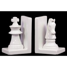 Show your cerebral side by placing these knight and rook bookends on either end of your shelf. This set is finished in a glossy white that stands out in your room. Set of two ceramic bookends brings a