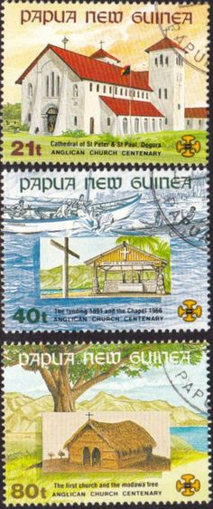 Papua New Guinea 1991 Anglican Church Set Fine Used SG Scott Other European and British Commonwealth Stamps HERE! Stamp Dealers, Anglican Church, Buy Stamps, Passport Stamps, Small Art, Fauna, South Pacific, Commonwealth, Stamp Collecting