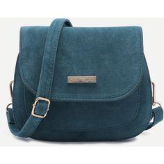 SheIn(sheinside) Blue Nubuck Leather Saddle Crossbody Bag (1.160 RUB) ❤ liked on Polyvore featuring bags, handbags, shoulder bags, shein, crossbody purses, crossbody shoulder bag, blue purse, blue shoulder bag and cross body