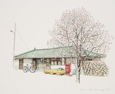 (Korea) A small store in a rural village by Lee Me Kyeoung ). ink on paper with a pen use the acrylic. Ink Pen Art, Lee And Me, Watercolor Architecture, Boy Illustration, Color Pencil Art, Korean Artist, City Art, Colored Pencils, Watercolor Art