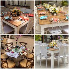 Colourful tablescape #tablescape #colourfulcenterpieces #woodtable #guesttable #flowerarrangements #tableset