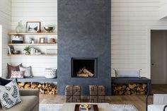 This needs to be our fireplace wall - add drawer storage under seat & mantle