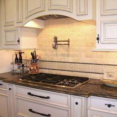 Kitchen ideas on pinterest antiqued kitchen cabinets for Antique white kitchen cabinets with black granite countertops