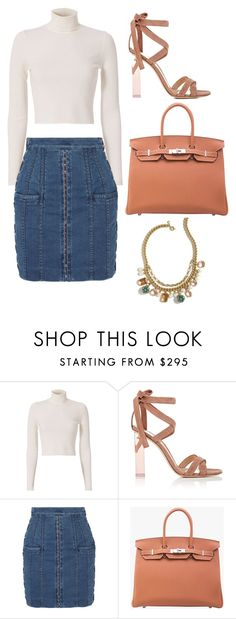 """""""Untitled #9941"""" by beatrizibelo ❤ liked on Polyvore featuring A.L.C., Gianvito Rossi, Balmain, Hermès and J.Crew"""