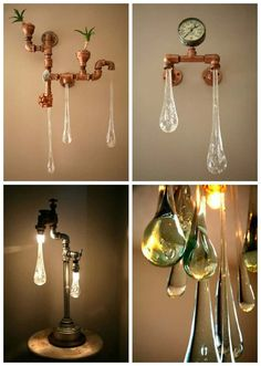 Liquid Light uses a combination of industrial built fixture look with energy efficient led bulbs and art glass to achieve a delicate aesthetic and function Driftwood Chandelier, Lace Lamp, Retro Cafe, Glass Bottle Crafts, Light Installation, Vintage Lighting, Recycled Glass, Sculpture, Lamp Light