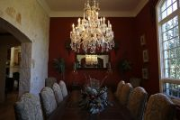 Love the limestone wall and contrast with antique crystal chandelier. From: Family finds comforts of home on Wimberley ranch - San Antonio Express-News Limestone Wall, Ranch, Contrast, Texas, Dining Room, Home And Garden, Chandelier, Ceiling Lights, Crystal