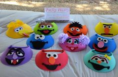 sesame street visors | Visors! Big Bird, Oscar, Ernie, Bert, Cookie Monster, Abby Cadabby ...