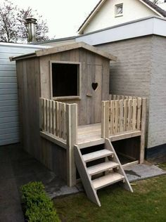 Sweet, simple playhouse. Make a bit taller and add an art table inside #outsideplayhouse #outdoorplayhouse