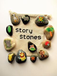 Jungle story stones, Imagination builder, teacher gifts, story telling - Lombn Sites Diy Projects Cans, Diy Projects For Kids, Story Stones, Infinity Charm, Great Teacher Gifts, Fun Activities For Kids, Painted Rocks, Decoration, Toys