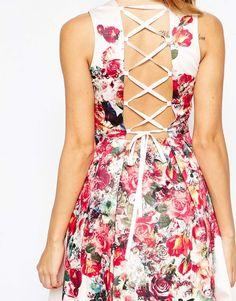 Image 3 ofASOS PETITE Vintage Floral Bardot Midi Prom Dress With Lace Up Back Detail
