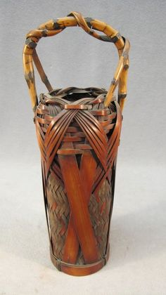 282: Antique Japanese Bamboo Ikebana basket : Lot 282