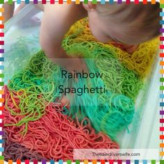 Rainbow Spaghetti Play - this is such a beautiful play. It is completely non-toxic and completely Edible. Work on dexterity, fine motor skills and gross motor skills - all whilst having fun! Perfect for infants, toddlers and kids too