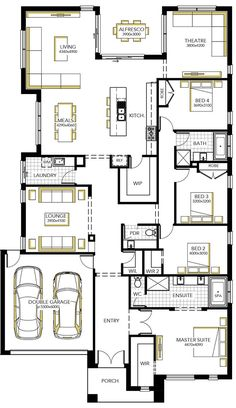 Image result for floor plan for 14m wide block | House plans ...