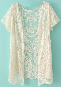 Crochet Net Lace Cardigan - I would love to try a lace kimono Lace Cardigan, Short Sleeve Cardigan, Cardigan Shirt, Crochet Cardigan, Summer Cardigan, Lace Shrug, Cardigan Fashion, Sleeveless Cardigan, Lace Jacket