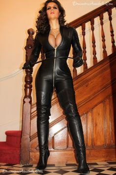 Leather catsuit and thigh boots