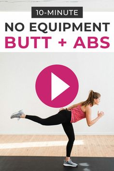Tone your core + build your glutes with this NO EQUIPMENT Abs and Butt Workout! These 10 ab exercises and butt exercises make an effective 'burnout' workout. Add this Butt and Abs Workout on to leg day, or use it as a quick 10 minute workout at home! 10 Minute Ab Workout, 10 Minute Abs, Bum Workout, At Home Workout Plan, At Home Workouts, Quick Ab Workout, Body Workouts, Home Exercise Program, Home Exercise Routines
