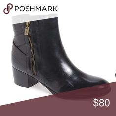 """Idols Delta Bootie Boots Add polish to your off-duty look this season in a sleek leather bootie minimally detailed with crisscrossing straps in back and a stacked block heel. A blissful bit of cushioning inside, complete with heel padding and arch support, make this a super-comfortable wardrobe essential. 1 3/4"""" heel  4 3/4"""" shaft. Side zip closure. Latex-cushioned footbed with padding at heel and arch support. Leather upper/textile lining/rubber sole. By Isolá; imported. Isola Shoes Ankle…"""