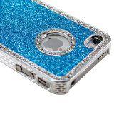 $1.0 Blue Luxury Bling Glitter Diamond Chrome Rhinestone Hard Case for iPhone 4 4G 4S Reviews